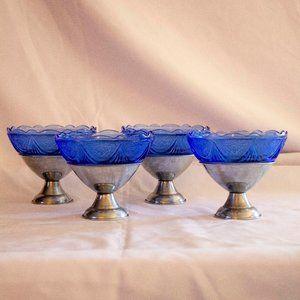 4 ANTIQUE STEEL & ETCHED BLUE GLASS BOWL